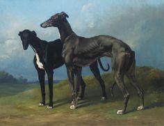 Henri D'Ainecy, comte de Montpezat (French, 1817-1859)  Greyhounds in a Landscape