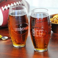 Personalized Glass Football Tumbler plus more engraved beer glasses and mugs in a variety of styles. Engraved beer glasses are the perfect gift for your groomsmen or special men in your life.