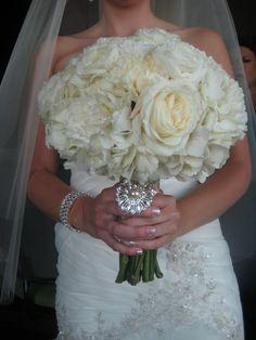 white bridal bouquet- burlap and lace wedding