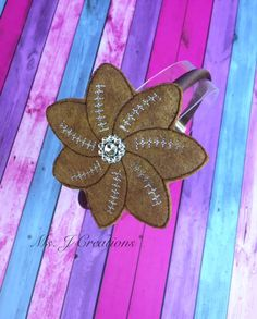 Felt Football Flower Slider Headband - Brown Sport Fan Girls Photo Prop School - READY TO SHIP by MsJCreations on Etsy