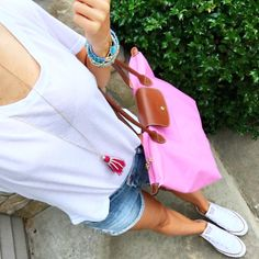 IG @mrscasual <click through to shop this look> Casual Sunday outfit. cut off denim shorts. pink long champ. converse all star. Buy this look on mrscasual.com now!
