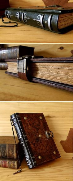 Brown Leather Journal / Blank Book with Lock and Key by TeoStudio, $190.00