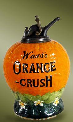 Vintage Orange Crush ceramic juice dispenser