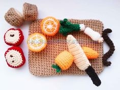 I WANT TO CROCHET EVERYTHING; I will put lil round Velcro on mine. Kitchen play set with Fruits Vegetables and by handmadekitty, $5.49