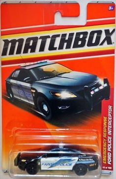 2011 Matchbox Ford Police Interceptor # 49 Emergency Response black & white (Fargo Police) by Mattel Scale Dump Trucks, Fire Trucks, Play Vehicles, Matchbox Cars, Emergency Response, Diecast Model Cars, Car Ford, Police Cars, Cars