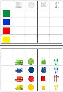 Autismus Arbeitsmaterial: Farbobjektentabelle einordnen