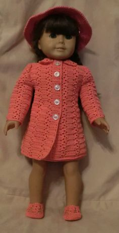 Crochet Pattern 187 Princess Coat Set  For 18 Inch by barbsdolls, $2.75