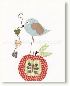 Nursery art prints - baby nursery decor - nursery art - Bird - apple - red - blue - heart - Big Apple print from Paris