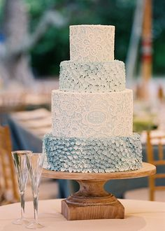 Wedding Cake - Lowndes Grove. Designed by Easton Events - Destination Wedding Planners with offices in Charleston, SC and Charlottesville, VA photo by Jen Fariello