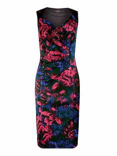 Printed cross front sateen dress