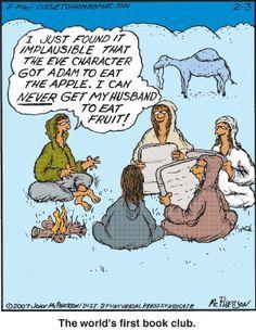 Humor In Dites & Fitness ☤ MD ☞✪ Eat Fruit. Book club humor How to lose weight fast ? Christian Cartoons, Funny Christian Memes, Christian Humor, Christian Comics, Bible Humor, Jw Humor, Humor Books, Jw Jokes, Religious Jokes
