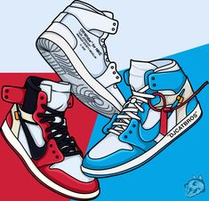 "JORDAN 1 OFF WHITE -   off white, illustracion, draw, sneaker draw, jordan 1 draw, cartoon, wallpaper -  Sneakers iDeas        First sneakers were the innovation of shoes produced in the 1800s to catch criminals. Sneakers first found their popularity thanks to the ""Converse"" brand. In 1923, the ""Converse All-Stars"" were worn by the basketball player ""Chuck Taylor"", and soon became widespread. Now, when we think of sneaker shoes, brands like ""Adidas"", ""Nike"" and ""Puma"" dominate sneaker…"