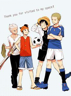 Inazuma Eleven X One Piece - Crossover One Piece Crossover, Best Crossover, Anime Crossover, Manga Boy, Anime Manga, Anime Art, Spiderman Black Suit, Yolo, Otaku