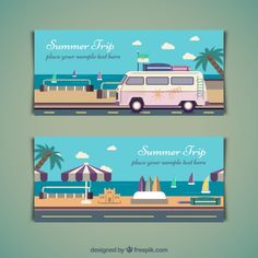Summer trip banners in flat design Free Vector