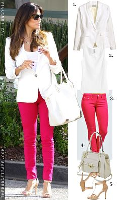 Dress by Number: Eva Longoria's White Blazer, Pink Jeans and Neutral Heels