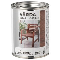 IKEA VÅRDA Wood stain, outdoor use Brown Protects the surface and adds shine and colour, while keeping the natural wooden expression. Mesa Exterior, Outdoor Flooring, Wooden Decks, Bistro Set, Wood Trim, Led Lampe, Diy Chair, Chair Pads