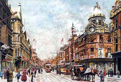Briggate, looking towards Upperhead and Lowerhead Rows, watercolour painting by Pete Lapish Leeds, Watercolour Painting, The Row, Street View, Display, Places, Artist, Floor Space, Billboard