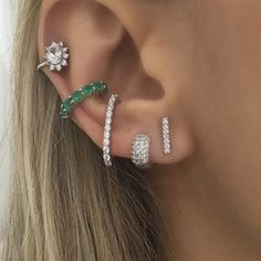 Diamond Hoop Earrings / Diamond Huggies / Solid Gold Huggie Earrings / Tiny Hoop Earrings / Diamond Hoop Earrings / Fine Jewelry *** The Earrings are sold as a pair. Tiny Earrings, Diamond Hoop Earrings, Cuff Earrings, Amethyst Earrings, Cartilage Earrings, Ear Jewelry, Body Jewelry, Jewelry Accessories, Fine Jewelry