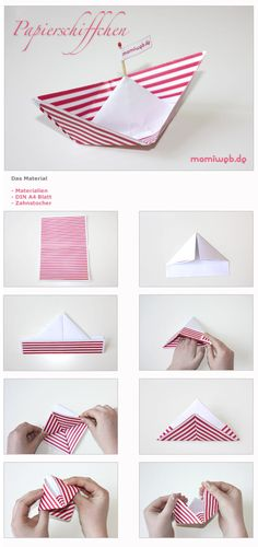 Bastelanleitung Paper boat - Crafts for Kids Diy Birthday For Mom, Birthday Candy, Easy Crafts, Diy And Crafts, Crafts For Kids, Paper Crafts, Origami Simple, Origami Box, Diy Bebe