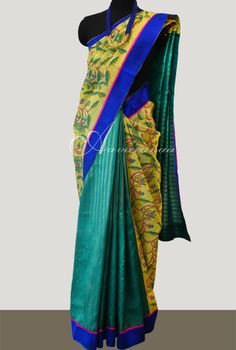 Teal green kancheepuram and yellow organza saree - Teal green kancheepuram silk saree with zari woven stripes and handblock printed organza for the shoulder portion alone Blouse : Teal green zari stripes on kancheepuram silk Wash : Dry clean only Organza Saree, Silk Sarees, Teal Green, Yellow, Buy Sarees Online, Cotton Blouses, Salwar Suits, Party Fashion, Sari