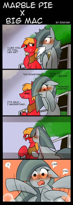 This Universe is not the official Universe Marble made her mind and finally tell Big Mac her feeling than.they finally be together Poor Marble, . My Little Pony: MARBLE X MAC Mlp Comics, Cute Comics, Marble Pie, My Little Pony Comic, Pony Drawing, Mlp Pony, Big Mac, Art Memes, Kawaii Wallpaper