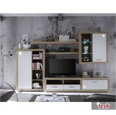 moderná lacná obývacia stena cancan dub sonoma / biely lesk