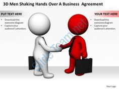 3d men shaking hands over a business agreement ppt graphics icons powerpoint Slide01