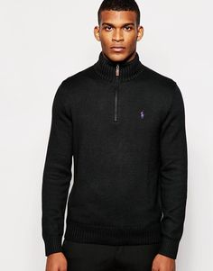 """Jumper by Polo Ralph Lauren Lightweight, soft-touch knit Stand-up collar Half zip placket Embroidered logo Ribbed trims Regular fit - true to size Hand wash 100% Cotton Our model wears a size Medium and is 188cm/6'2"""" tall"""