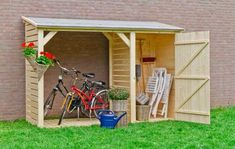 25 Awesome Unique Small Storage Shed Ideas for your Garden 21 garden Backyard Storage, Backyard Sheds, Bike Storage, Outdoor Storage, Backyard Landscaping, Backyard Projects, Outdoor Projects, Bike Shed, Lean To