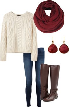 "loving the cranberry/plum colors for fall. ""Fall outfit"" by reyacp on Polyvore"