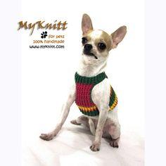 Red Green Yellow Summer Dog harnesses Puppy Sweater by myknitt #dog #pet #bostonterrier