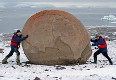 Russian Arctic ~ Champ Island, famous for a special mystery.   There are lots of huge perfectly round stones. Their origin is still the subject of debate.