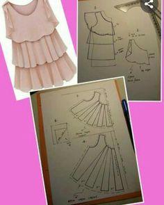 Crochet ideas that you'll love Frock Patterns, Kids Dress Patterns, Clothing Patterns, Pattern Cutting, Pattern Making, Sewing Clothes, Diy Clothes, Bodice Pattern, Le Polo