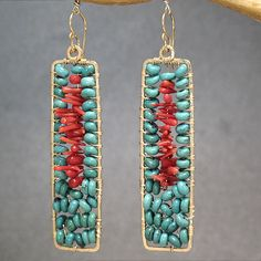 Hammered rectangle drop earrings turquoise by CalicoJunoJewelry