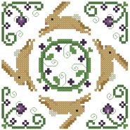 Cross-stitch biscornu ... no color chart available, just use the pattern chart as your color guide.. or choose your own colors... The Floss Box   Biscornu 395 Pdf pattern