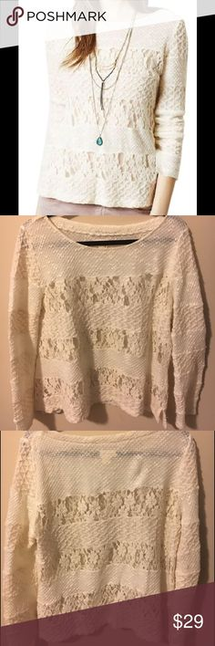 Anthropologie Meadow Rue Lace Panel Sweater Acolyte long sleeve sweater. Great to wear alone or to layer! No signs of wear. Anthropologie Sweaters Crew & Scoop Necks