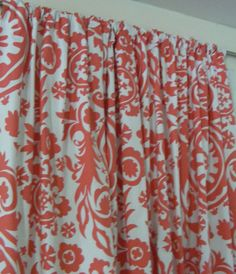 Coral Curtain Panels 25'' x 84'' Pair Lined Various Coral Patterns on Etsy, $85.00