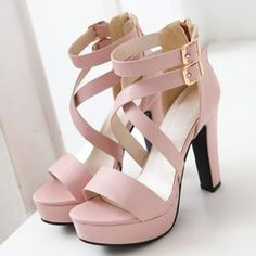 Trendy Double Buckle and Cross Straps Design Sandals For Women - Pink 39 Mobile - - Cute Shoes Heels, Fancy Shoes, Pretty Shoes, Formal Shoes, Pink Prom Shoes, Buy Shoes, Nike Shoes, Sneakers Nike, Kawaii Shoes
