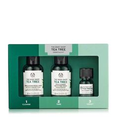 Made from purifying tea tree oil from the foothills of Mt Kenya, The Body Shop's Tea Tree 123 Kit gently cleanses blemished skin and removes impurities. The Body Shop, Body Shop Tea Tree, Body Shop At Home, Charcoal Benefits, Organic Tea Tree Oil, Soap Packaging, Packaging Design, Facial Wash, Kit