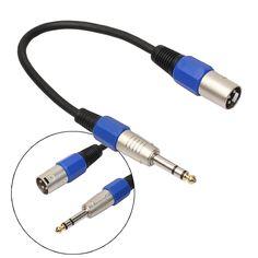 """35 cm/1.14 FT 3 P XLR Nam Jack đến 1/4 """"6.35 mét Nữ Cắm Stereo Microphone Adapter cáp với nickel kết nối mạ"""