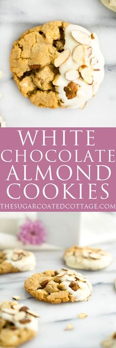 White Chocolate Roasted Almond Cookie Recipe. Crispy, crinkly, buttery cookies studded with crunchy roasted almonds and creamy white chocolate chips. | thesugarcoatedcot... #cookies #desserts