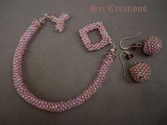 peyote stitch bracelet with earrings
