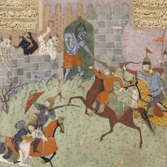 The Persian army attacks the castle of Bahman in 'Shahnama' (Book of Kings), Ancient Myths, Persian Pattern, Miniature Paintings, Japanese Painting, Central Asia, Islamic Art, Art And Architecture, Galleries, Schools