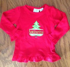 Smock Your Tot - Red Appliqued Split Christmas Tree Shirt or Onesie, $25.95 (http://www.smockyourtot.com/red-appliqued-split-christmas-tree-shirt-or-onesie/)