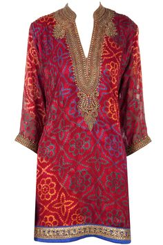 Red bandhani beaded tunic available only at Pernia's Pop-Up Shop.
