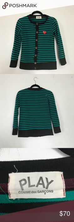 Comme des Garcons Green Stripe Cardigan Worn twice for the photoshoots. It's still good condition.   Just want to let you know that I have 2 cats at my place, I always try to do my best to clean the product up before shipping, but there is still little possibility that some hair comes with it. Comme des Garcons Tops