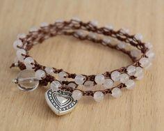 Crocheted wrap bracelet. Heart charm jewelry by SinonaDesign, €26.00