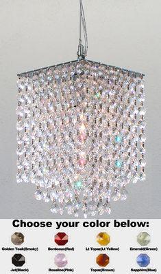 Chandelier to hang in the nursey- it's customizable with interior crystal colors- pink for a girl and blue for a baby boy! :-)