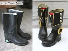 Pirate Boots Makeover Project by Kate's Creative Space. See what else she made for a pirate-themed birthday party, too! Pirate Boots Makeover Project by Kate's Creative Space. See what else she made for a pirate-themed birthday party, too! Pirate Day, Pirate Birthday, Pirate Theme, Pirate Dress, Diy Pirate Costume For Kids, Pirate Cosplay, Decoration Pirate, Pirate Adventure, Wellies Boots