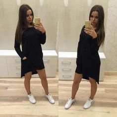 13.29$  Watch more here  - Casual Slash Neck Long Sleeves Asymmetric Hem Pockets Solid Color Dress for Women